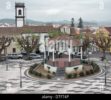 architectural scenery with pavilion at Ponta Delgada, capital city of the Azores at São Miguel Island - Stock Photo