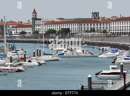city view with harbor at Ponta Delgada, capital city of the Azores at São Miguel Island, the biggest island of the - Stock Photo