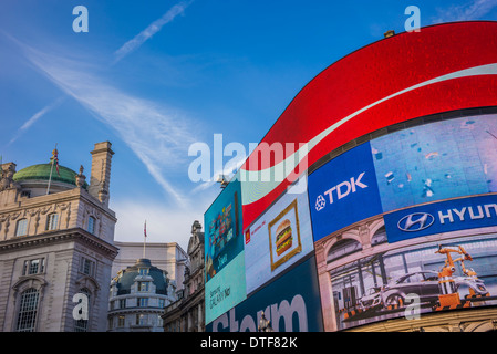 The advertsing screens of Picadilly Circus in the City of Westminster, London - Stock Photo