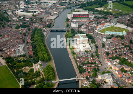 Aerial shot of the River Trent and the Embankment in Nottingham City, Nottinghamshire UK - Stock Photo