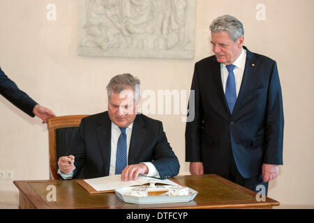 Berlin, Germany. 17th Feb 2014. German President Joachim Gauck receives his Swiss counterpart President Aleksander - Stock Photo