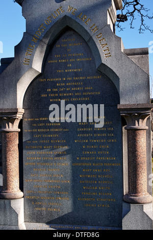 Detail on the memorial in Abergele Church yard in North Wales to the 33 people who lost their lives in the rail - Stock Photo