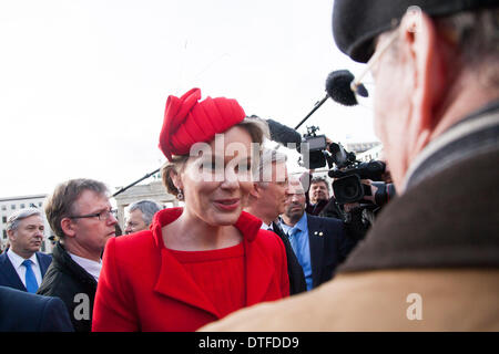 Berlin, Germany. 17th Feb 2014. . Klaus Wowereit, governing mayor of Berlin, Greetings the king Philippe and Queen - Stock Photo