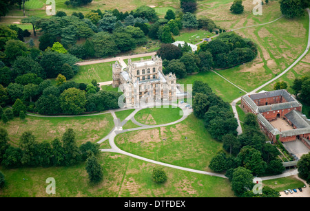 Aerial shot of Wollaton Hall in Nottingham City, Nottinghamshire UK - Stock Photo
