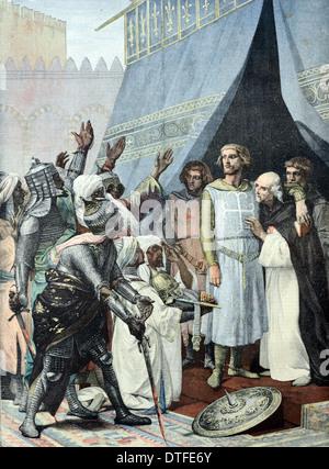 King Louis IX or Saint Louis IX Catholic Saint & King of France (1214-1270) in Jerusalem during Seventh Crusade - Stock Photo