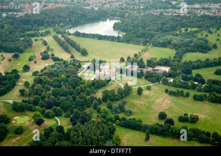 Aerial shot of Wollaton Hall and Deer Park in Nottingham, Nottinghamshire UK - Stock Photo