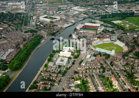 Aerial shot of the Embankment and River Trent in Nottingham City, Nottinghamshire UK - Stock Photo