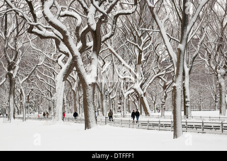 People walking along the Mall in Central Park, New York after a snowstorm - Stock Photo