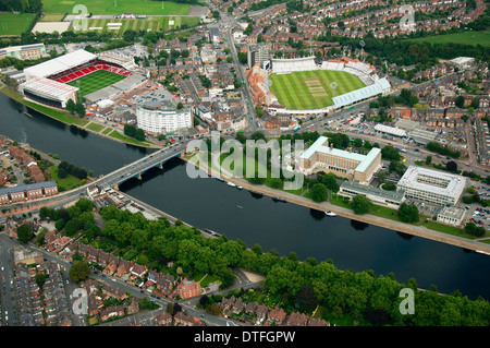 Aerial shot of the Embankment area and the River Trent in Nottingham, Nottinghamshire UK - Stock Photo