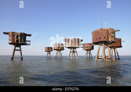Maunsell sea forts. Red sands forts Thames estuary now abandoned - Stock Photo