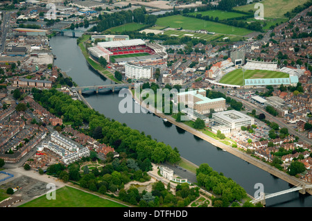 Aerial shot of the River Trent and the Embankment area, Nottingham Nottinghamshire UK - Stock Photo