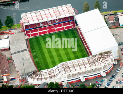 Aerial shot of NFFC in Nottingham City, Nottinghamshire UK - Stock Photo