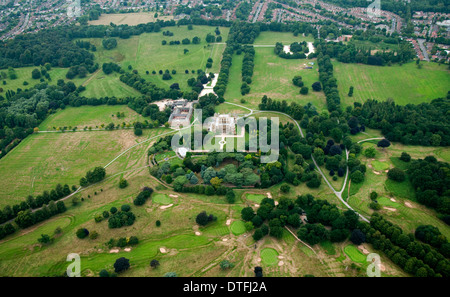 Aerial shot of Wollaton Hall and Deer Park in Nottingham City, Nottinghamshire UK - Stock Photo
