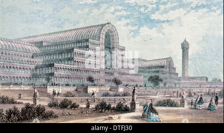 London. The Crystal Palace by Joseph Paxton. Cast-iron and plate-glass building originally erected for Great Exhibition - Stock Photo