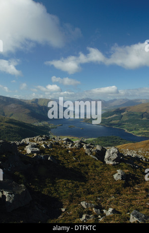 Ascending Sgorr na Ciche (The Pap of Glencoe), above Glencoe. Loch Linnhe and the Ardgour peninsula lie behind. - Stock Photo