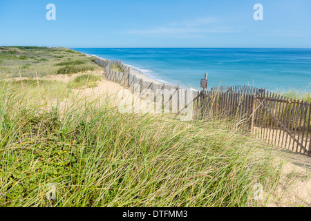 Marconi Beach pIcket fence and sand dunes, Cape Cod - Stock Photo