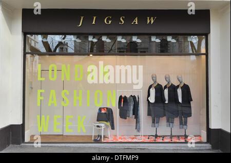 The Strand, London, UK. 17th Feb 2014. The window of Jigsaw for London Fashion Week. Credit:  Matthew Chattle/Alamy - Stock Photo