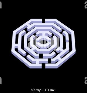Illustration of white 3d labyrinth in octangle shape on black background - Stock Photo