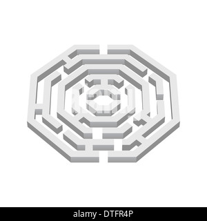 White 3d labyrinth in octangle shape on white background - Stock Photo