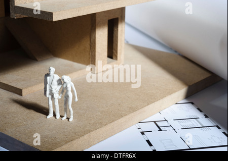 blueprints architecture model and calculator stock photo royalty free image 71893353 alamy. Black Bedroom Furniture Sets. Home Design Ideas