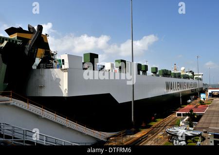 MV Parsifal ship of Wallenius Wilhelmsen Logisrics company in Panama canal Gatun locks Colon Panama - Stock Photo