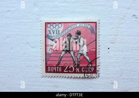 A Russian Olympic stamp in this Aug. 31, 2013 photo. - Stock Photo