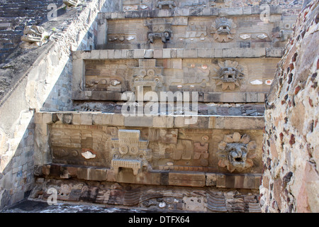 Part of the Feathered Serpent Temple, Teotihuacan Pyramids, Mexico - Aztec civilization - Stock Photo