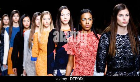 London, UK.. 17th Feb, 2014. Models present creations by Michael van der Ham during the 2014 Autumn/Winter London - Stock Photo
