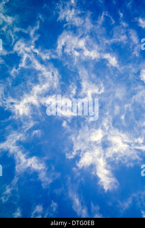 Wispy white clouds against a cobalt blue sky - Stock Photo