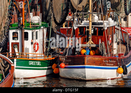 Shrimps cutter in harbour, Greetsiel, East Frisia, Lower Saxony, Germany - Stock Photo