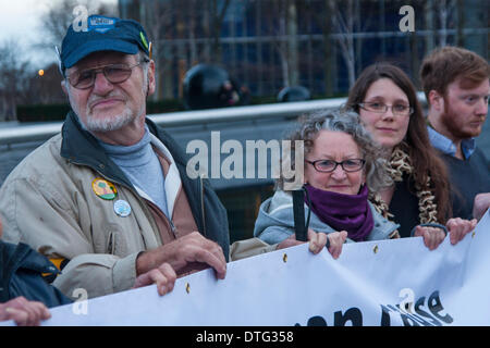 London, UK. 17th Feb 2014. . Dietrich Wagner, left, joined dozens of campaigners to protest against Mayor Boris - Stock Photo