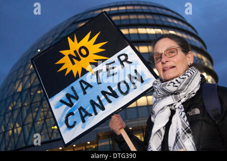 London, UK. 17th Feb 2014. . Dozens gather to protest against Mayor Boris Johnson's plans to bring in water cannons - Stock Photo
