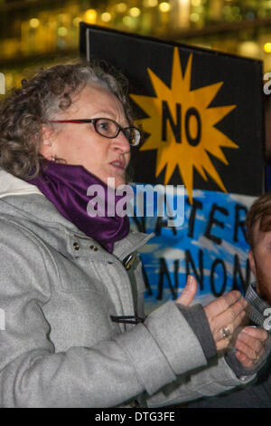 London, UK. 17th Feb 2014. . The Green Party's Jenny Jones addresses the crowd as dozens gather to protest against - Stock Photo