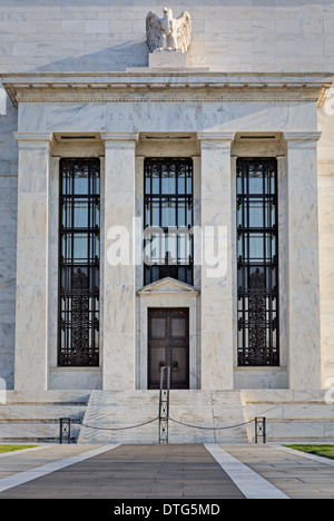 A front view of the Unites States Federal Reserve Building entrance in the nations capitol Washington DC. - Stock Photo