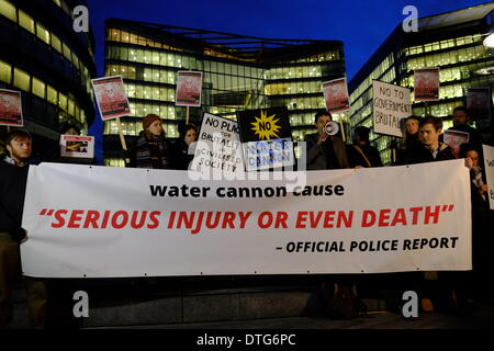 A consultation meeting  MOPAC Water Cannon Engagement was attended by protesters including Dietrich Wagner, a German - Stock Photo