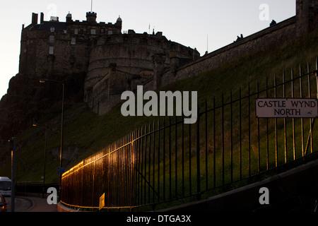 A view of Edinburgh Castle at sunset, Scotland, October 2013. - Stock Photo