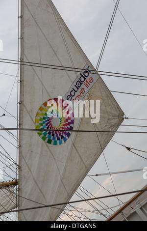 Ecuador's Buque Escuela Guayas tall ship sail with Ecuador love life sign. Guayas sailed in to New York City for - Stock Photo