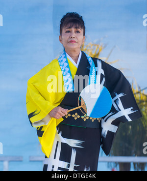 Japanese folk dancer perform at the Chinese New Year celebrations held in Las Vegas - Stock Photo