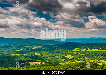View of the Shenandoah Valley from an overlook on Skyline Drive in Shenandoah National Park, Virginia. - Stock Photo