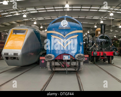 Fast passenger rail engines, Deltic Class 55 1961 diesel loco, 'Cornwall' 1847 steam loco and APT-E gas turbine - Stock Photo