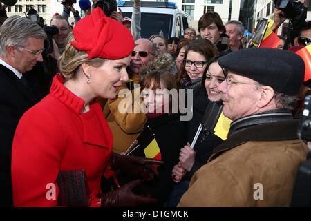Berlin, Germany. 17th Feb, 2014. Queen Mathilde Welcome of the Belgian royals at Brandenburger Tor and Pariser Platz - Stock Photo