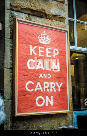 Original print of Keep Calm and Carry on Poster at Barter Books, Northumberland, UK. - Stock Photo