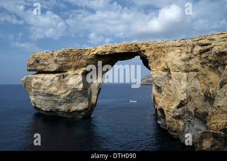 'Azure Window', natural rock arch, Gozo, Malta - Stock Photo