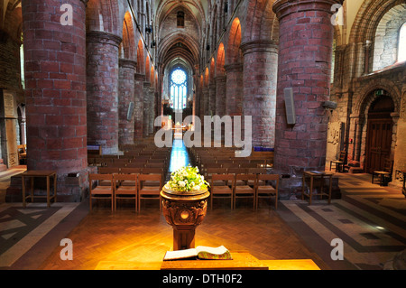 Interior of St Magnus Cathedral, Romanesque-Norman architecture, 12th century, Kirkwall, Mainland, Orkney, Scotland - Stock Photo