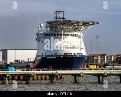 Oil Supply vessels in Esbjerg harbor, Denmark - Stock Photo