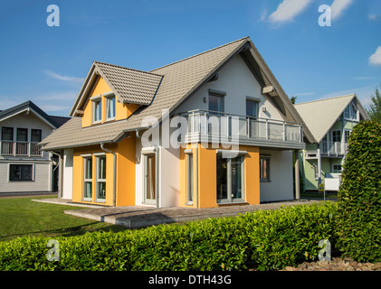 Modern detached house - Stock Photo