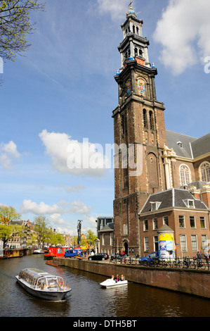 Amsterdam, Netherlands. Westerkerk (church - 1620-38) on Prinsengracht (canal). - Stock Photo