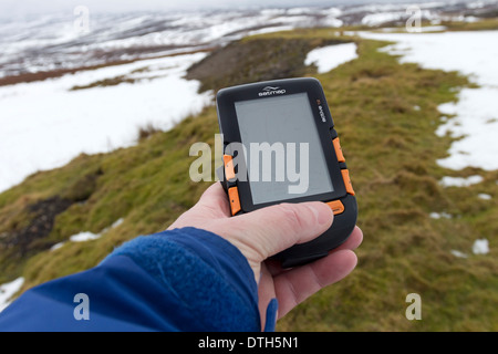 Satmap Active 12 GPS Unit in Use UK - Stock Photo