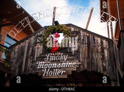 Ole Smoky Moonshine Holler in Gatlinburg Tennessee - Stock Photo