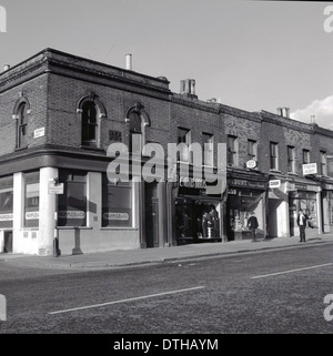 Historical picture from 1950s showing the corner of Hermes Street on the Pentonville Road in Islington, London, - Stock Photo